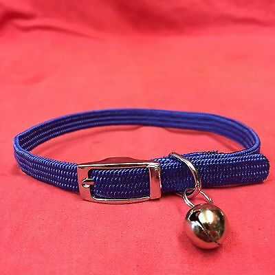 Cat Kitten Collar FULLY Elasticated Buckle Blue EXTRA SAFETY COLLAR and BELL