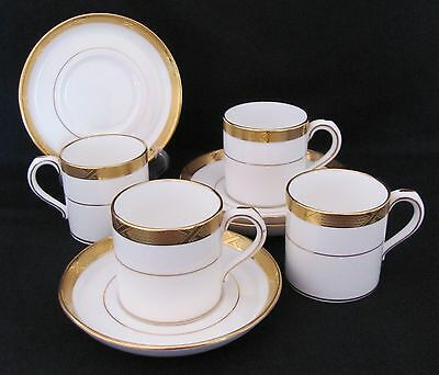 Demitasse Cup Saucer Mintons for Tiffany & Co. Six Sets Gold White c.1900