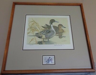 Framed Signed 1982 Texas Parks & Wildlife Waterfowl Duck Stamp Print Ken Carlson