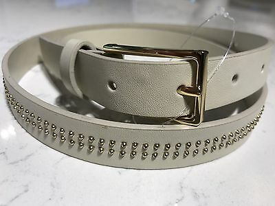TOPSHOP Women/'s Tan Genuine Leather Belt w// Gold Buckle 19X69Y US Size S NEW $55
