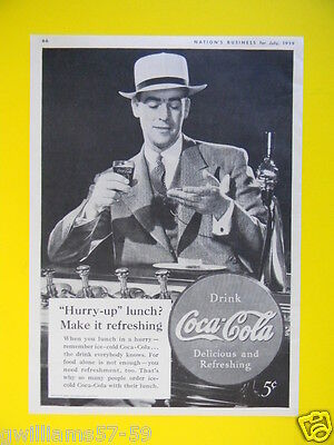 """1939 """"hurry-Up"""" Lunch? Make It Refreshing ~ Drink Coca-Cola ~ Coke Sales Art Ad"""