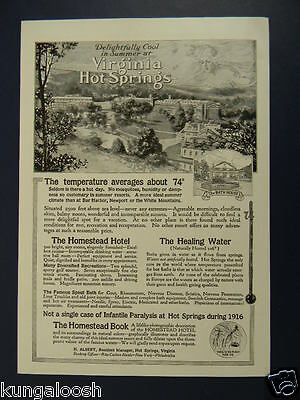 1917 Virginia Hot Springs Travel Art Ad, The Bath House, The Homestead Hotel,etc