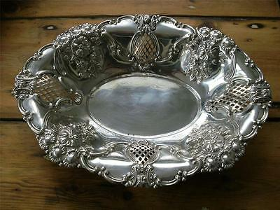 SUPERB LARGE STERLING SILVER FRUIT BASKET BOWL Birmingham 1903 325.8g