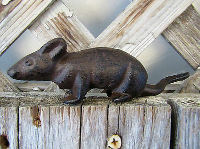 "Decorative Rustic Primitive 4.5"" CAST IRON  Small Mouse Figurine Toy Replica"