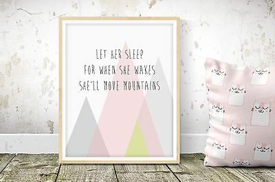 She'll Move Mountains - A5 Nursery Print - Children's Wall Art - Baby Bedroom