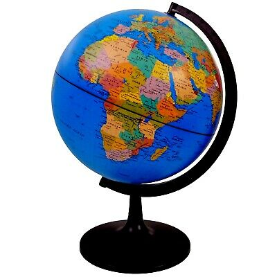 WORLD GLOBE Rotating Swivel Map of Earth Atlas Geography diameter 32 cm uk stock