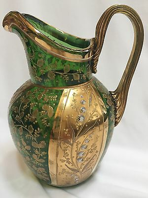 Gorgeous MOSER Green Pitcher w/ Heavy Gold Overlay & White Lily of the Valley