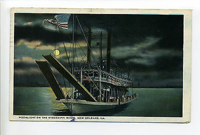 New Orleans LA Moonlight on Mississippi River, people on boat, bunting, 1920's