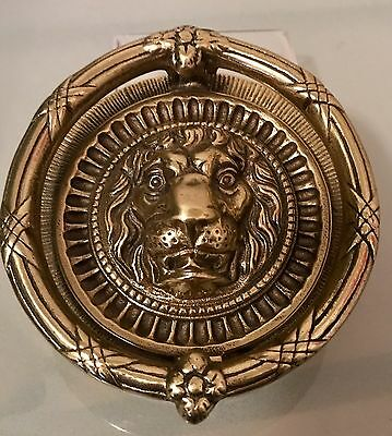 "Vintage 5.5"" Brass Round Lion Head Door Knocker England Made UK Ornate Hardware"