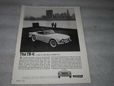 Original Advertisement 1962 Triumph TR-4