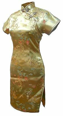 7Fairy Women's Vtg Gold Dragon Mini Chinese Party Dress Cheongsam Size 6