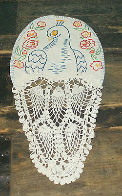 """Vintage Hand Embroidered Peacock Crochet Tail fam Doily  Blue & White 13"""" x 6"""""""
