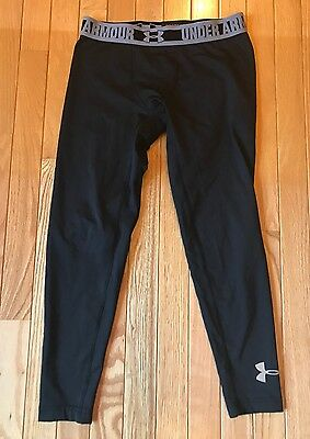 Under Armour Girls Youth Black Cold Gear Fitted Pants Sz L Large