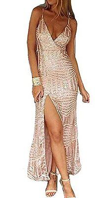 Maxi Long Gold Sequin Formal Dress Prom Evening Long Split size 6 8 10 12