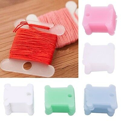 100Pcs Embroidery Floss Craft Thread Bobbin Cross Stitch Storage Holder 5 Color