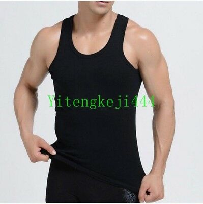 Mens 100% Cotton Tank Top A-Shirt Wife Beater Under Shirt Ribbed Vest Fashion YY