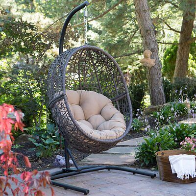 Outdoor Swing Egg Chair Wicker Hanging Hammock Deck Porch Patio Furniture Home
