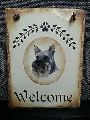 Scottish Terrier Scotty Dog Welcome Sign on Real Slab of Slate ~ Delightful