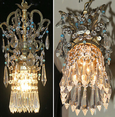 Pair Vintage SWAG plugin lamps beaded ROCOCO chandelier Brass spelter Opaline