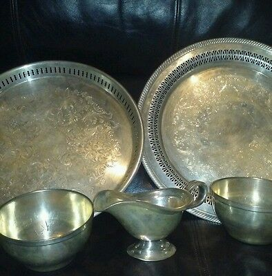 5 piece serving tray set silver plate