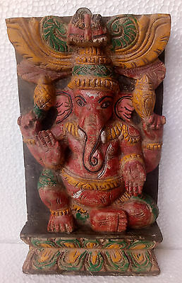 Vintage Old Wooden Hand Crafted Carved Ganesha Ganesh Wall Panel  Home Decor Art
