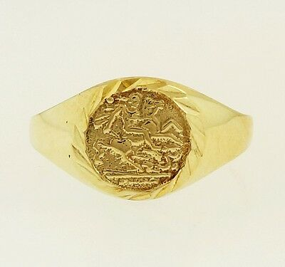 9Carat Yellow Gold St George Signet Ring (Size F 1/2) 7mm Widest
