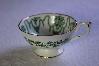 Vintage Coalport Porcelain Hunter Green & White w/ Gold Gilt Porcelain Teacup