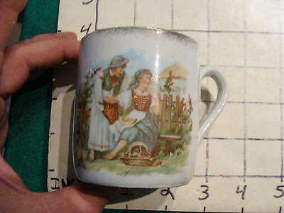 Original Vintage Childs cup/mug: GIRL SITTING w Fruit, boy consoliing ?