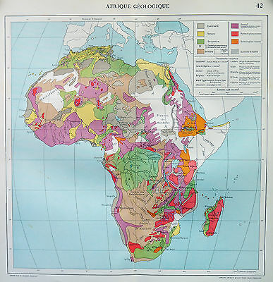 Map of Africa Geological Afrique French Large 1925 Original Antique