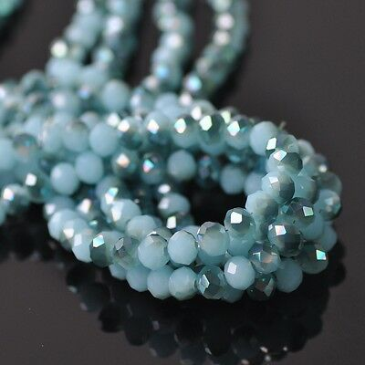 100pcs 6x4mm Rondelle Faceted Crystal Glass Loose Beads Green&Jade Lake Blue