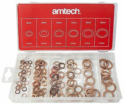 Am-Tech 110pc Copper Washers Set Metric Assorted Solid Sump Plug Pan Kit S6195