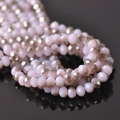 100pcs 6x4mm Rondelle Faceted Crystal Glass Loose Beads Gray&Jade Pink