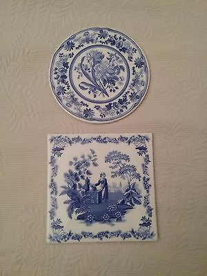 Pair (2) of SPODE Blue Room Trivets ~ One Round One Square