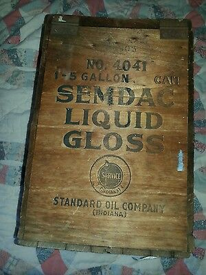 Rare OLD Standard Oil Company  INDIANA Wood Wooden Crate Box
