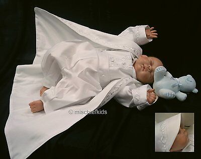 CASPER White Boys Christening Outfit, Romper, Coat and Hat BNWT