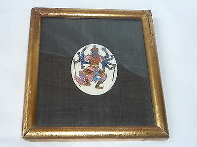 Oriental/Chinese Hand Painted 10 Hands Buddha on Bovine Bone - Framed Glazed