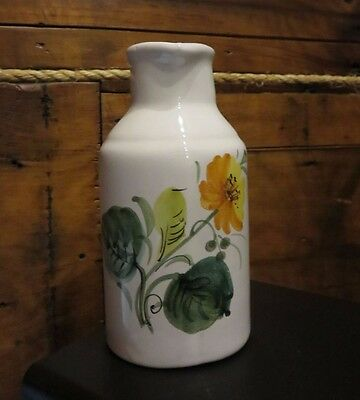Vintage  Italian Art Pottery Italy Colorful  Hand Painted Floral Cruet/Decanter