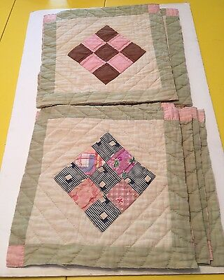 Lot of 9 Quilt Blocks cut from vintage quilt 9-Patch Antique