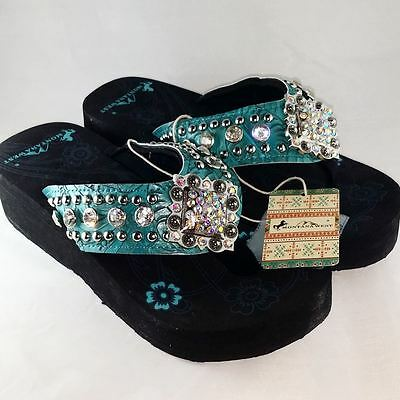 8430ffbf3 Montana West Womens Wedge Bling Flip Flop Sandals - Turquoise - NWT  LIQUIDATION