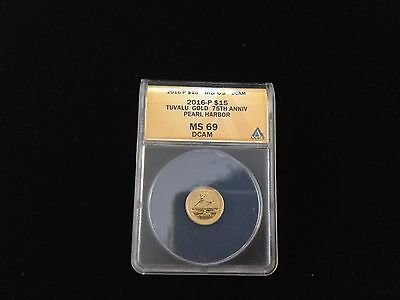 2016 P Pearl Harbor $15 1/10 Oz. .9999 75th Anniversary ANACS MS69 Gold w/ COA