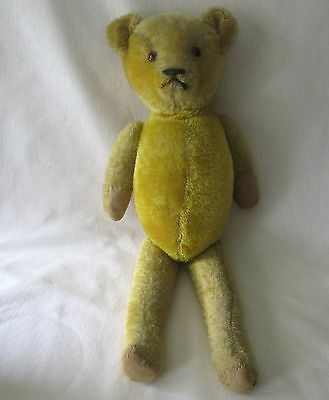 "21"" Antique 1910era Glass Eyed Gold Mohair Straw Filled Jointed Ideal Teddy Bear"