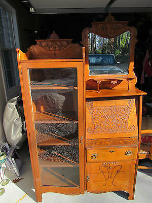 solid oak antique secretary beautifully carved glass door shelving mirrored top