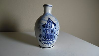 "Zenith Bols Holland Pottery Mini Pitcher Bldg Decor Blue On White Signed 4.25"" T"