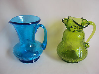 Vintage Blue And Green Crackled Glass Cruets Set Of Two