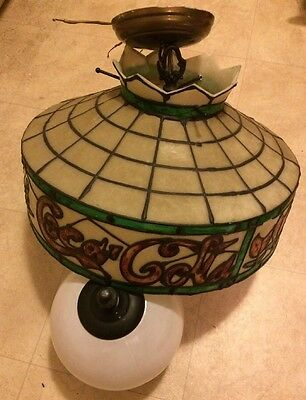 Vintage Hard Plastic Coca Cola Hanging Light With White Glass Globe Light Cover