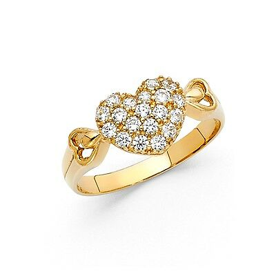 CZ Heart Ring Solid 14k Yellow Gold Love Band Promise Ring Fashion Style Ladies