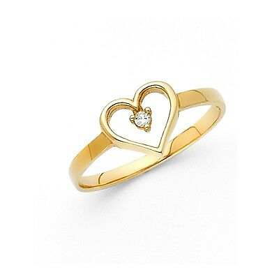 Heart Ring Solid 14k Yellow Gold Love Band CZ Style Promise Ring Polished Fancy