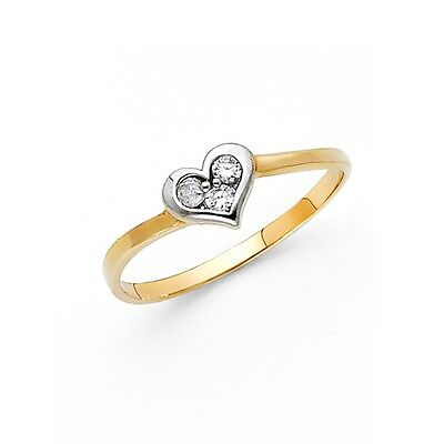 Heart Ring CZ Solid 14k Yellow White Gold Band Love Style Design Polished Finish