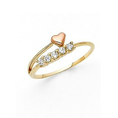 Solid 14k Yellow Rose Gold Heart Ring CZ Five Stone Band Love Style Design Fancy