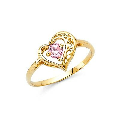 Pink CZ Heart Ring Solid 14k Yellow Gold Love Band Fashion Style Promise Ring